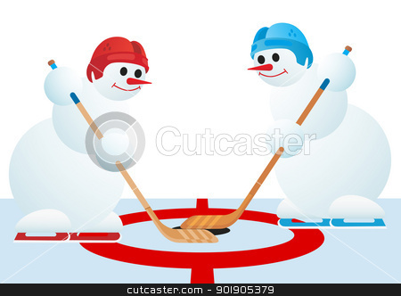 Hockey players stock vector clipart, Two snowmen playing hockey. The illustration on a white background. by Sergey Skryl