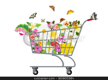 Grocery cart with flowers stock vector clipart, Trolley for products, which are flowers and butterflies by Sergey Skryl