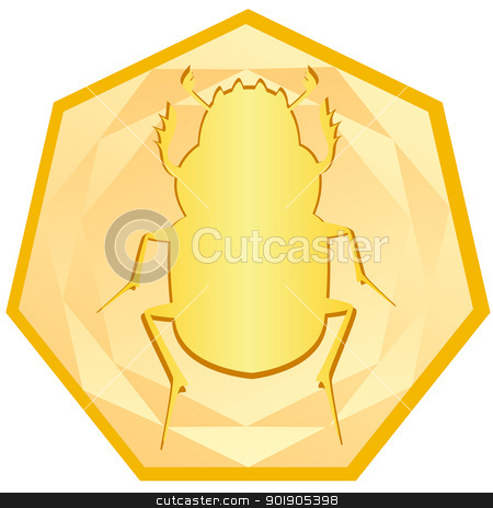 Gold Scarab Beetle stock vector clipart, Gold Beetle - Scarab in the frame. The illustration on a white background. by Sergey Skryl