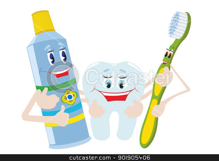 Friends stock vector clipart, Abstract toothpaste, toothbrush and tooth. The illustration on a white background. by Sergey Skryl
