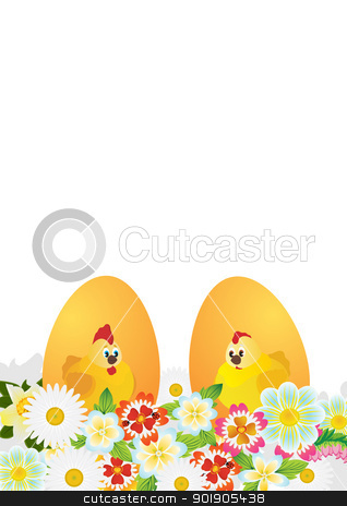 Easter eggs stock vector clipart, Easter eggs with ornament and wild flowers. The illustration on a white background. by Sergey Skryl
