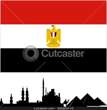 Egypt stock vector clipart, National Flag and the outline of buildings and architectural structures. The illustration on a white background. by Sergey Skryl