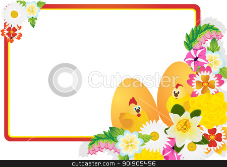 Easter eggs and flowers of the field stock vector clipart, Easter eggs with ornament and wild flowers. The illustration on a white background. by Sergey Skryl