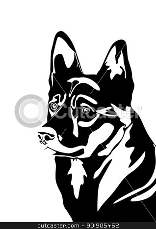 Dog. stock vector clipart, The head of a dog. Black and white illustration. by Sergey Skryl