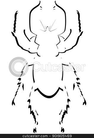 Contour beetle stock vector clipart, Contour image of the beetle. The illustration on a white background. by Sergey Skryl