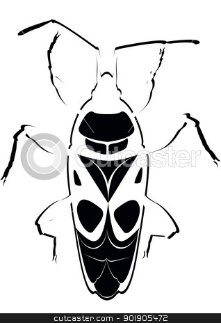 Contour soldier beetle stock vector clipart, Contour image of the beetle. The illustration on a white background. by Sergey Skryl