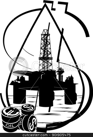 Crude oil production stock vector clipart, Oil and gas industry. Black and white illustration. by Sergey Skryl