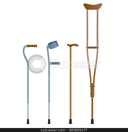 Crutches stock vector clipart, Crutches for the movement of people with broken legs. The illustration on a white background. by Sergey Skryl