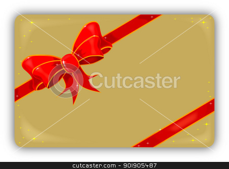 Silk Ribbon and Bow Card stock vector clipart, A gold card adorned with a silk/satin ribbon with sparkles. by Kotto
