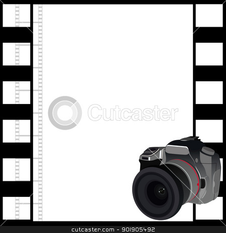 Camera and a frame of film stock vector clipart, Modern SLR camera on the background of the film. The illustration on a white background. by Sergey Skryl