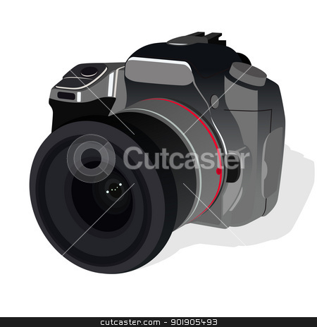 Camera stock vector clipart, The modern reflex camera. The illustration on a white background. by Sergey Skryl