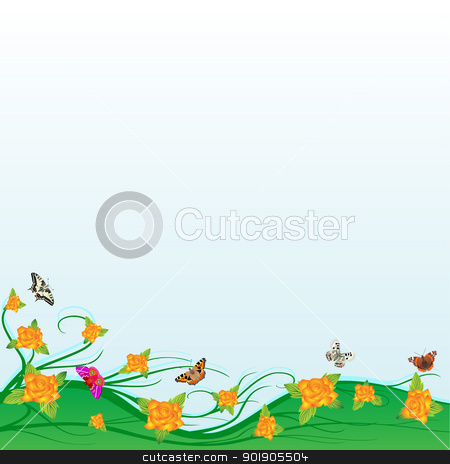 Butterflies and roses stock vector clipart, An abstract floral meadow with roses and butterflies by Sergey Skryl
