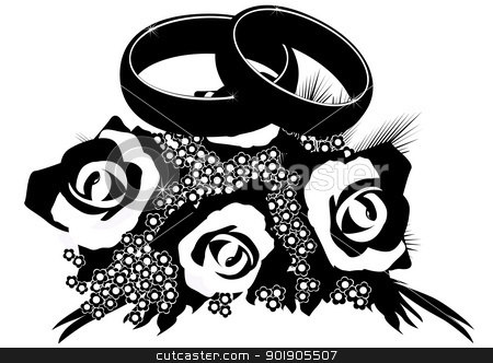 Bouquet of wedding rings stock vector clipart, Two wedding rings lie on a bouquet of flowers. Black and white illustration by Sergey Skryl
