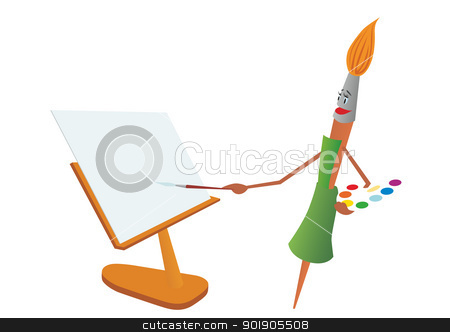 Brush-painter stock vector clipart, Abstract brush with paints paints on canvas. The illustration on a white background. by Sergey Skryl