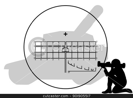 Bazooka stock vector clipart, Soldiers with anti-tank grenade launcher and sight. The illustration on the military theme. by Sergey Skryl