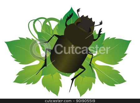Beetle stock vector clipart, Beetle on a grape leaf. The illustration on a white background. by Sergey Skryl