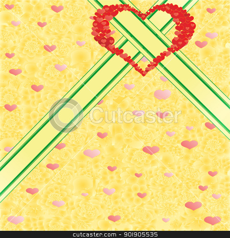 Background to the heart stock vector clipart, Abstract heart on a background of ornamental flowers by Sergey Skryl