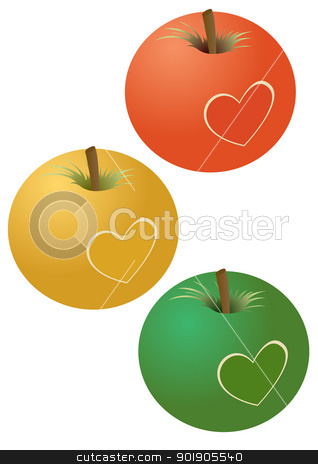 Apples with a heart stock vector clipart, Three apples with the picture of a heart. The illustration on a white background. by Sergey Skryl