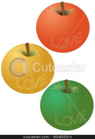 Apples with an inscription stock vector clipart, Three apple with the inscription. The illustration on a white background. by Sergey Skryl