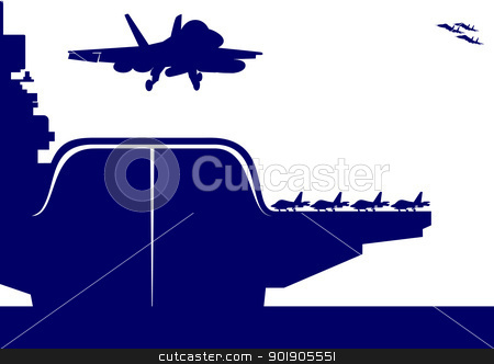 Aircraft and an aircraft carrier stock vector clipart, The plane takes off from the deck of an aircraft carrier. The illustration on the military theme. by Sergey Skryl