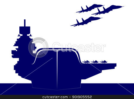 An aircraft carrier stock vector clipart, The plane takes off from the deck of an aircraft carrier. The illustration on the military theme. by Sergey Skryl