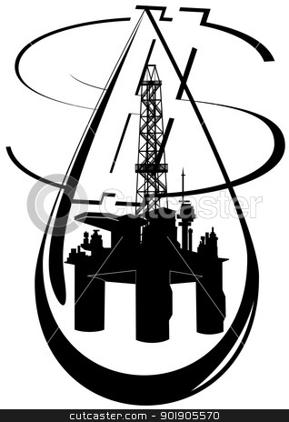 A drop of oil stock vector clipart, Oil and gas industry. Black and white illustration. by Sergey Skryl
