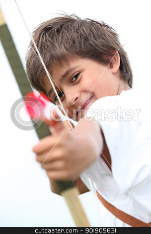 Little boy with bow and arrow stock photo, Little boy with bow and arrow by photography33