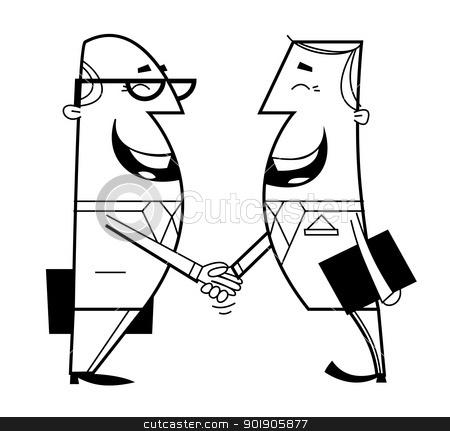 Businessmen shaking hands stock vector clipart, Businessmen shaking hands cartoon illustration. Outline. by Moenez
