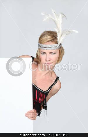 Woman in party dress holding marketing board stock photo, Woman in party dress holding marketing board by photography33