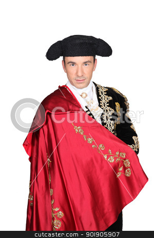 Man in a matador costume with a red cape stock photo, Man in a matador costume with a red cape by photography33