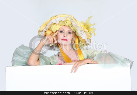Woman in gown stood with message board stock photo, Woman in gown stood with message board by photography33