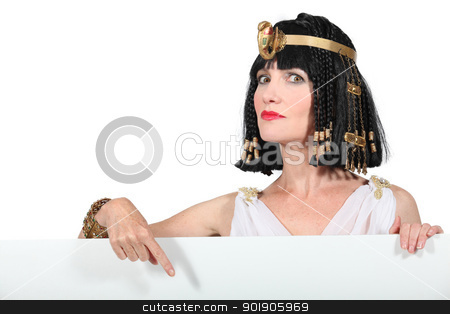 Cleopatra pointing at blank advertising board stock photo, Cleopatra pointing at blank advertising board by photography33