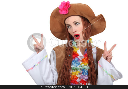 Woman dressed as hippie stock photo, Woman dressed as hippie by photography33