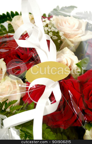 Bouquet with blank lable. stock photo, Bouquet of flowers with a blank gift lable. Write your own tekst. by Lars Christensen