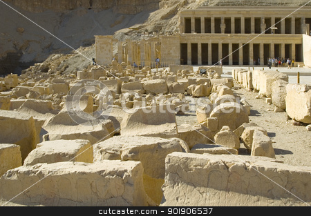 Hatchepsut Templ ruins stock photo, Hatchepsut Templ ruins in Luxor near Nile river. Egypt by Aikon