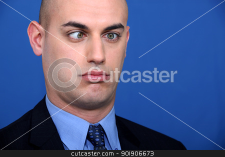 Corporate guy squinting. stock photo, Corporate guy squinting. by photography33