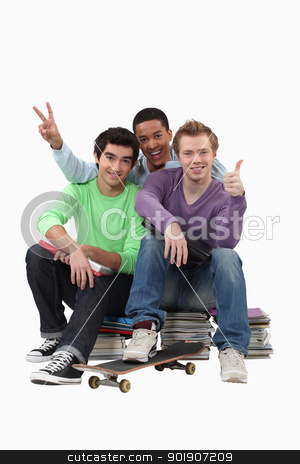 three students posing for a picture stock photo, three students posing for a picture by photography33