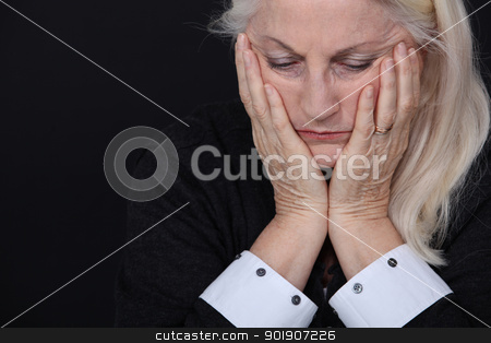 senior woman looking sad and lonely stock photo, senior woman looking sad and lonely by photography33