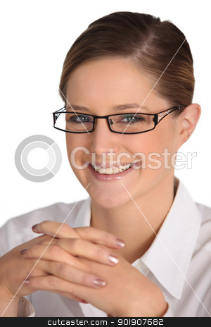 Happy smiling woman in distinct eyeglasses stock photo, Happy smiling woman in distinct eyeglasses by photography33