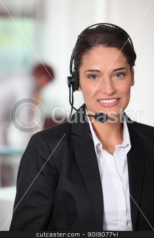 Customer service woman smiling stock photo, Customer service woman smiling by photography33