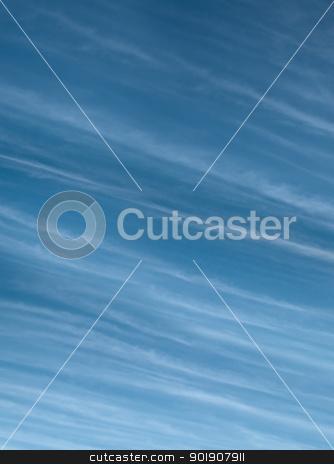 High level Cirrus blue sky cloudscape stock photo, High level Cirrus cloud against blue sky meteorology weather  background by byjenjen