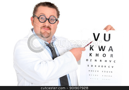 Comedy optician with an eyechart stock photo, Comedy optician with an eyechart by photography33