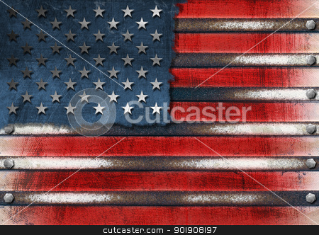 USA Grunge Metal Flag stock photo, Usa grungy metal flag with bolts heads  by catalby