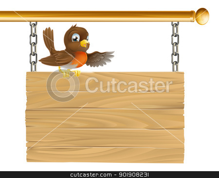 Robin sitting on sign board stock vector clipart, A sweet little happy robin sitting on a wood sign board by Christos Georghiou