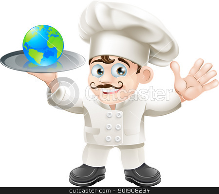 Chef globe concept stock vector clipart, Illustration of a chef with a globe. Could be related to world food or success: having the world on plate  by Christos Georghiou