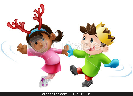 Christmas party dancing stock vector clipart, Cartoon of two children or young people in seasonal Christmas outfits having fun dancing by Christos Georghiou