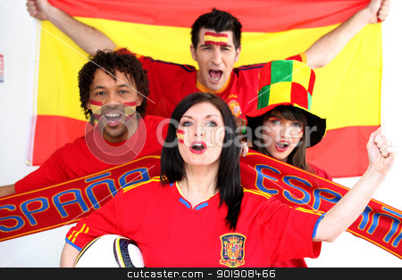Spanish football fans stock photo, Spanish football fans by photography33