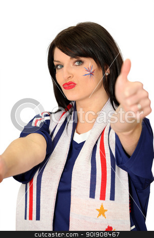 Female French football fan stock photo, Female French football fan by photography33