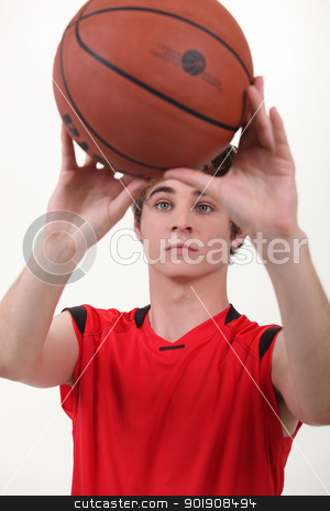 close-up of a basket-ball player stock photo, close-up of a basket-ball player by photography33