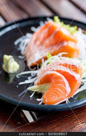 Salmon sashimi japanese traditional food stock photo, Salmon sashimi on japanese traditional food by moggara12
